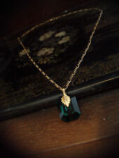 Vintage Emerald Green Crystal Pendant Necklace Gold Plated.