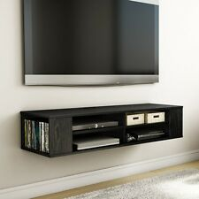 Black Wall Mounted Media Console TV Stand Entertainment Center Floating Cabinet