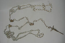 Vtg Silver Tone Borealis Crystal Bead Blessed Wedding Day Rosary Necklace Italy