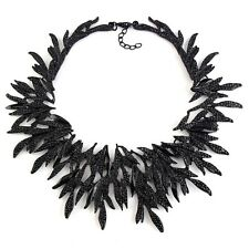 ZARA ELEGANT BLACK SPIKES COLLAR NECKLACE - NEW