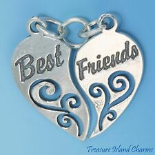 BEST FRIENDS TWO PIECE HEART TO SHARE .925 Solid Sterling Silver Charm 2-PC
