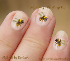 Bumble Bee, Wings Up flying insect  24 Unique Designer Nail Art Stickers