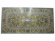 8'x4' Marble Black Dining Table Inlay Mosaic Arts Hakik Pietradura Decor H3024B