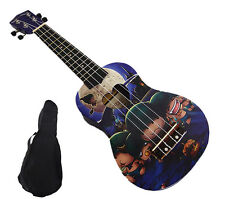 "Woodnote Cool Zombie Corps of Pattern- 21"" Soprano Wooden Ukulele & Black Bag"