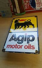 AGIP MOTOR OIL porcelain sign can rack display garage gasoline gas pump plate