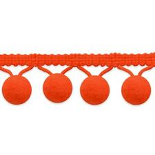 "Pom Pom Fringe Trim Ball  5/8"" X 5 Yards ORANGE Lolita   Ribbon Crafting Sewing"