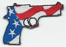 PISTOL WITH US FLAG GUN PATRIOTIC  Funny MOTORCYCLE Biker Vest Patch! PAT-3014