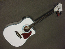 **WHITE!! Washburn Acoustic Electric w onboard tuner guitar BAG & amp pack pack
