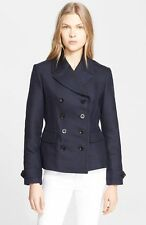 NWT BURBERRY BRIT $995 WOMENS WOOL COTTON PEACOAT COAT JACKET SZ US 12 EU 46