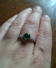 Sterling Silver Imitation Diamond Emerald ring size O