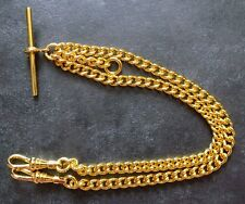 Brand New Rolled Gold Fob Pocket Watch Double Albert Chain