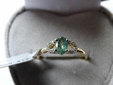 Rare Natural Colour Change Alexandrite & Zircon 9K Gold Ring Size N-O/7