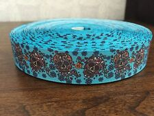 "1m Skulls Flowers Turquoise Printed Grosgrain Ribbon, 7/8"" 22mm"