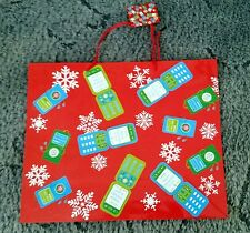 7 Large Christmas Gift Bags, Cell Phone Design, 13Hx16Wx6D