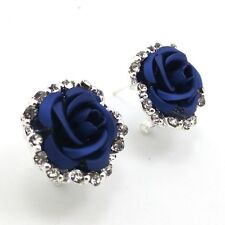 HOT Fashion Silver Plated Blue Rose Crystal mosaic Earrings EX152