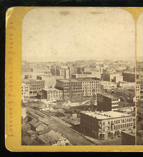 c1873 Post-Fire Chicago Bird's Eye View South Palmer House, Lovejoy & Foster