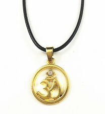 Yellow Gold Plated Buddha Yoga Mantra Meditation Pendant Om Necklace