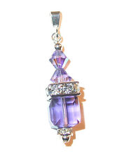 TANZANITE PURPLE 8mm Cube Crystal Pendant Sterling Silver Swarovski Elements