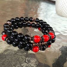Back Onyx & Red Coral 8mm Wrist Mala Gemstones Beads Healing Bracelet -Energized