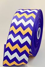 "3"" Purple Yellow and White Chevron Stripe Glitter Grosgrain Cheer Bow Ribbon"