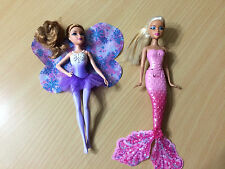 "Barbie Fairytale Magic Small Purple Fairy Pink Mermaid 8"" Doll Lot"