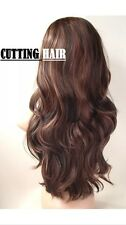 Brown Black mix 3/4 Fall Wig Layer Long Curly Half Wig 805-1b/33