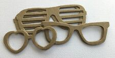 (4 Sets) *SUNGLASSES*  Modern Cool Shades Eye Glasses - Bare Chipboard Die Cuts