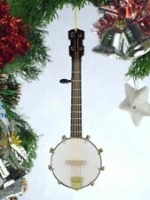 "BLACK BANJO 5"" REALISTIC MUSICAL INSTRUMENT CHRISTMAS ORNAMENT GIFT BOXED"