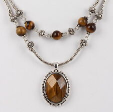 COSTUME TWO STRAND TIGERS EYE BEADS & FACETED WOOD STONE NECKLACE FASHION 4945