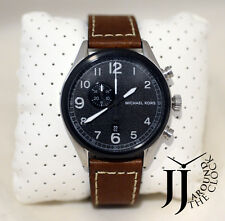 New Michael Kors Men's Chronograph Hanger Brown Leather Strap 45mm Watch MK7068
