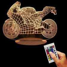 3D Motorcycle Table Lamp LED USB Power Desk Night Light Color Changing Lamp