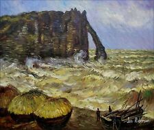 Claude Monet Rough Sea at Etretat Repro, Hand Painted Oil Painting 20x24in