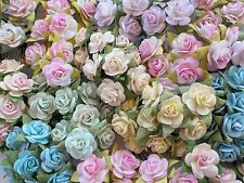 100! Lovely Mulberry Paper Roses - 10/15mm - Pastel Shabby Chic Colours Rose Mix