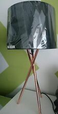 Industrial Shiny Copper Lamp Metal Tripod Table Lamp Black Drum Shade NEW