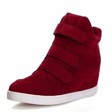 New Women Wedge Hidden Heel Sneakers High Top  Ankle Boots Canvas Sports Shoes