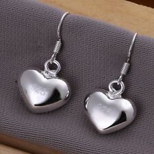 New Women 925 Sterling Silver Plated Fashion Heart Dangle Earring Studs Jewelry