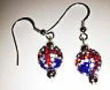 CRYSTAL  UNION JACK  DROP EARRINGS WITH 1 CLAY CZECH CRYSTAL DISCO BEAD-UK SELL