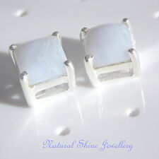 Stud Earrings 925 Sterling Silver Natural Blue Lace Agate Gemstone Square 6x6 mm