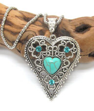 VINTAGE Tibetan Style Silver Filigree Turquoise Color Crystal Heart Necklace