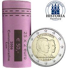 25 x 2 Euro Gedenkmünzen Luxemburg 2006 bfr. Henri & Guillaume in Original Rolle