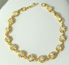 "Yellow Gold Bracelet Tennis 9k Women Girl Simulated White Gemstone 7""/ 8"""