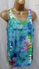 Round neck batik  Hawaii sleeveless top sun beach summer  tropical leaves L
