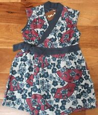 NEW Tea Collection TAKI WRAP DRESS sz 4 Girls Gray Blue *Perfect for Layering*