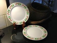 "Set of 2 Royal Norfolk China Christmas 10"" Gold Gild Dinner Plates Holly"