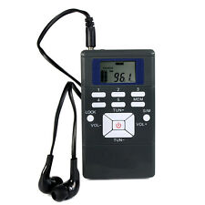 Mini Portable DSP Stereo FM Radio Digital Clock Receiver w/ In-ear Earphone AS