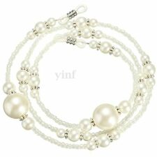 White Pearl Beaded Sunglass Eyeglasses Reading Glasses Chain Cord Holder