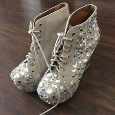 Jeffrey Campbell Jeweled Lucite Beige Lace Up Suede Dina Clear Heel Booties 7.5