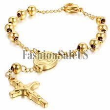 Women Men Stainless Steel Cross Jesus Pendant Bracelet Chain For Valentine Gift