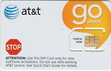 New AT&T Prepaid Go Phone SIM Card 3G 2G / EDGE No Contract