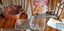 "COPPER CHEF 9.5"" Square CASSEROLE Pan with 5-Piece Cooking System & Recipes NIB"
